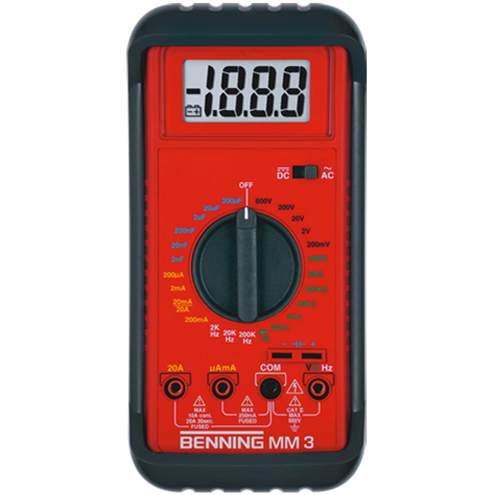 Digital-Multimeter BENNING MM 3  Geeignet für Elektrotechnik, Ausbildung (manuelle Messbereichswahl), Heizungstechnik (µA-DC-Messung für Einstellungsarbeiten und Störungsbeseitigung an Heizungsanlagen)
